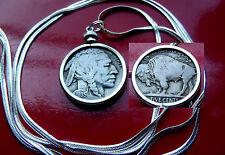 "Nice 1935 American Buffalo Nickel on a 30"" 925 Sterling Silver Herringbone Chain"