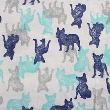 Jersey Stoff Gemustert Bulldogge Hunde Meterware 100 % Baumwolle