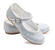 Girls Silver Glitter Bridesmaid Party Fancy Dress Ballerina Flat Shoes Louise