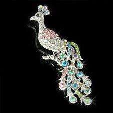 HUGE w Swarovski Crystal ~Rainbow PEACOCK~ peafowl Peahen Classy Xmas Pin Brooch