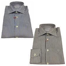 BRANCACCIO camisa de hombre riga manga larga 100 % algodón doble trenzado