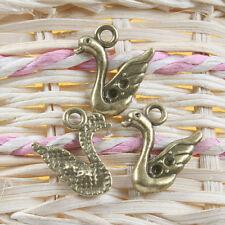 14pcs antiqued bronze swan design pendant charm G663