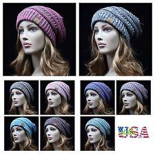 Beanie Cap Plain Cable Knit Stretch Baggy CC Knit Ski Winter Hat Men Women Caps