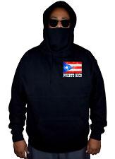 Men's Puerto Rico Flag Chest Black Fleece Mask Hoodie Boricua Nuyorican Soccer