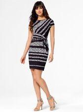 NWT Sexy Black & White Chain Print Wrap Dress CACHE   XL 14