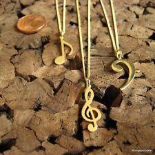 Notenschlüssel, Achtelnote oder Bassschlüssel Anhänger m. Kette, 585er Gelbgold