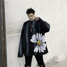 Men's Punk Floral Long Sleeve Distressed Pullover Oversize Sweatshirt Top SKGB