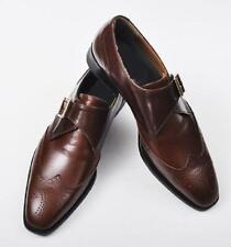 Men's Handmade Genuine Brown Leather Oxford Brogue Wingtip Single Buckle Shoes