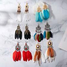Retro Boho Feather Leaf Tassel Women Ear Drop Dangle Earrings Hook Jewelry Gift