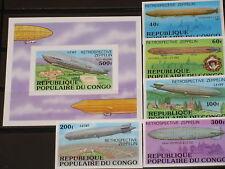 Congo 1977 577-81 B Block 11 B Zeppelin Airships MNH