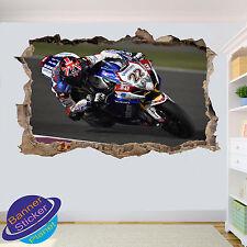 MOTO RACE azione Racer 3D Adesivo Parete rotte Room Decor Decalcomania Murale YW6