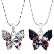 XXL Lang Kette Modekette Schmetterling Anhänger Halskette Strass Gold Silber 30