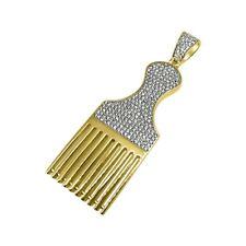 Gold Barber Hair Pick Custom Pendant