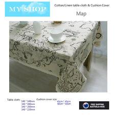 Retro Map Print Natural Linen Cotton Home Decor Cushion Case Cover Tablecloth