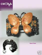 Rhinestones Metal Butterfly Headband / Hair Tie Orange