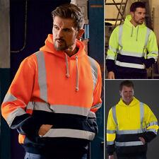 Hi Vis ANSI Class 3 Safety Pullover Hooded Sweatshirt Fleece Hoodie Tops Coat US