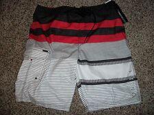 O'NEILL New NWT Mens Board Swim Shorts Black White Red Stripe 32 33 34