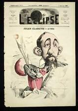 L'Eclipse André Gill JULES CLARETIE écrivain français Caricature de 1869