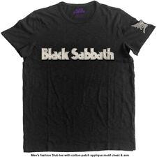 Official T Shirt BLACK SABBATH- LOGO & DEMON Black Mens Licensed Merch Applique