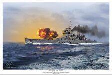 """""""Avenging the Hood"""" Mark Karvon Print - HMS King George V Firing On DKM Bismarck"""