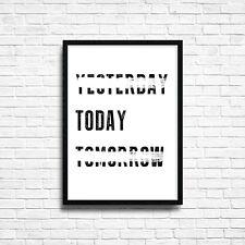 Oggi Preventivo Poster motivazionale Testo Wall Art Print Home Decor A3 A4 SIZE + cornice