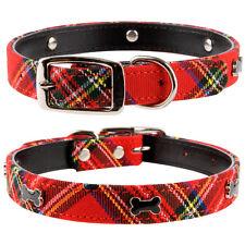"Pet Palace Red or Blue Tartan ""Scottie Dog"" Leather & Plaid Luxury Dog Collar"