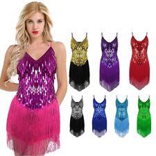 Women's Gowns Party Dance Sequins Rhythm Ballroom Latin Salsa Tango Fringe Dress