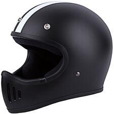 DOT Approved Motorcycle Helmet Chopper ABS Matte Black White Stripes With Visor