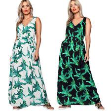 Summer Women Floral Printed Sashes Sleeveless V NeckBoho Maxi Dress Elegant C8X2