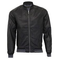 Mens PU PVC Jacket Threadbare Coat Zip Biker Baseball Style Lined Fashion Winter