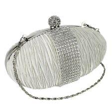 Ivory Satin Crystal Bridal Wedding Prom Ladies Purse Clutch Handbag Bag UK New
