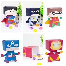 5x Superhero Big Head Lolly Loot Bag Box. Party Banner Bunting Cake Batman Robin