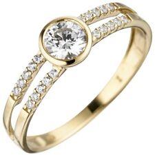 Anillo de Dama 333 Oro Amarillo con 21 Blanco zirconia dedos