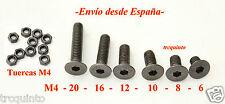 Tornillo M4 cabeza avellanada allen DIN7991 10.9 (10 und.) tuercas M4 (20 und.)