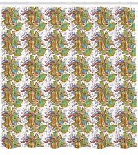 Spring Botany Pattern Shower Curtain Fabric Decor Set with Hooks 4 Sizes