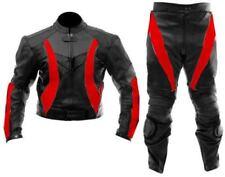 Noir et rouge Manteau en cuir Veste de sport Pantalon Costume en cuir