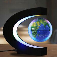 C Shape LED World Map Magnetic Levitation Floating Globe Rotating Light BEST