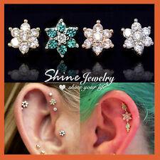 Opal Gem Crystal Flower Stud Gold Silver Ear Climber Earrings Cartilage Piercing