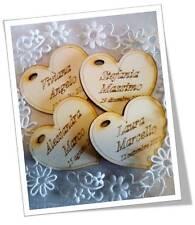 cuori nomi incisi cuoricini segnaposto matrimonio legno bomboniera made in Italy