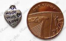 Plata Tibetana Hecha Con Amor corazón encantos 1 5 10 o 20 seleccionar la cantidad de 13 mm X 10 Mm