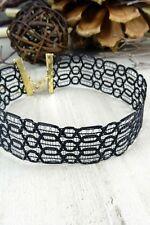 Women Fashion Jewelry Black Retro Vintage 90's Choker Necklace Edgy Punk Casual