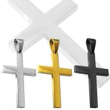 1 Ciondolo Pendente Croce liscia da Uomo Crocifisso per le collane Acciaio