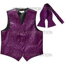 New Men's Vest Tuxedo Waistcoat free style self-tie Bowtie paisley purple