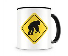 Affen Warnschild Tasse Kaffeetasse Teetasse Kaffeepott Kaffeebecher Becher