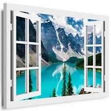 Leinwand Bild Fenster Bilder Berge Wald, Blauer See Kunstdruck Keilrahmenbild 71
