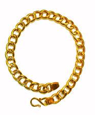 CERTIFIED 22KT YELLOW GOLD HANDMADE LINK CHAIN BRACELET UNISEX JEWELRY INDIA