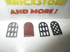 LEGO Set of  2 LBG Windows 1 x 2 x 2 2//3 Rounded Top Black Diamond Lattice Pane