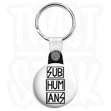 Subhumans Logo - Keyring Button Badge - 25mm Punk Keyrings with Zip Pull Option