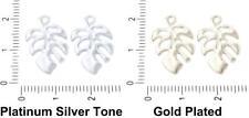 4pcs Monstera Palm Leaf Pendants Charms Czech Metal Findings 19mm x Hole