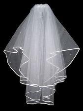 2 Niveles Marfil Boda nupcial Velo Con Diamantes Cristales & Peine De Alta Calidad